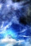 Nubi di notte del cielo della luna Immagini Stock