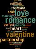 Nubi di parola del Info-testo del biglietto di S. Valentino di amore Immagini Stock