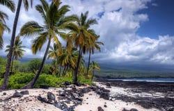 Nubi di tempesta su una spiaggia della lava Immagini Stock