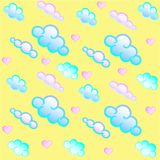 Nubi e cuori Reticolo senza giunte Modello del ` s dei bambini Colore pastello royalty illustrazione gratis