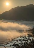 Nubi sopra il paddyfield del terrazzo di Hani Immagine Stock