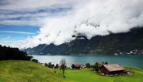 Nubi tempestose sopra Wallensee Fotografia Stock