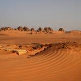 Nubian金字塔全景在苏丹 免版税库存照片