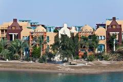 Nubian architecture at El Gouna, Red Sea, Egypt. Nubian architecture at El Gouna resort, Red Sea district, Egypt stock image
