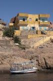 Nubian Häuser, Aswan Ägypten, Leben auf dem Nil-Fluss Lizenzfreie Stockbilder