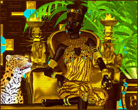 Nubian Princess. Seated on a gold chair with a leopard at her feet she exudes wealth, power and beauty. A fantasy digital art scen Royalty Free Stock Photography
