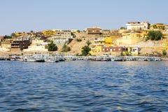 Nubian traditionell by, sjö Nasser, Egypten arkivfoto