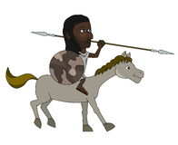 Nubian warrior cartoon Royalty Free Stock Image