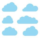 Coleção do vetor das nuvens. Bloco de computação da nuvem. Fotografia de Stock