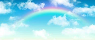 Nubla-se o céu azul do fundo com arco-íris ilustração royalty free