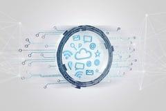 Nuble-se a conexão do símbolo cercada pelos multimédios e pelo Internet ap Fotografia de Stock
