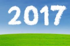 Nuble-se a mosca dada forma do número 2017 no prado Imagens de Stock