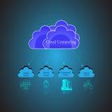 Nuble-se o conceito de computação e o público, nuvem privada, híbrida Foto de Stock Royalty Free