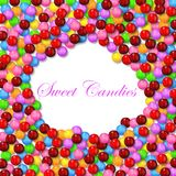 Nuble-se o fundo da forma com os vários doces doces no quadro Imagens de Stock Royalty Free