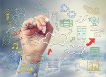 Nuble-se o tema de computação com a mão dos ícones tirada com giz Foto de Stock Royalty Free