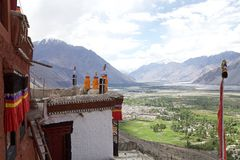 Nubra谷的,拉达克,印度Diskit修道院 图库摄影