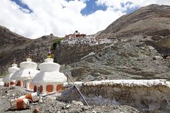 Nubra谷的,拉达克,印度Diskit修道院 免版税库存图片