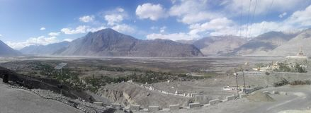 The Nubra Valley. Nubra Valley is a high altitude cold desert, located in Ladakh. It lies around 150 kms from Leh and can be accessed via the famousKhardungla Stock Photo