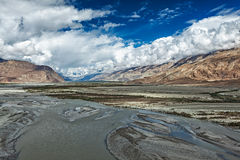 Nubra valley and river in Himalayas, Ladakh Royalty Free Stock Image