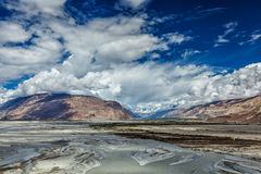 Nubra valley and river in Himalayas, Ladakh Royalty Free Stock Photo