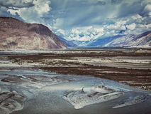 Nubra valley and river in Himalayas, Ladakh Royalty Free Stock Photography
