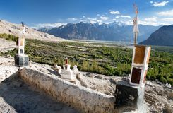 Nubra valley from roof of royal castle Royalty Free Stock Images