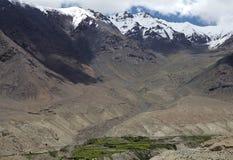 Nubravallei en de Khardung-Pas, Ladakh, India stock foto's
