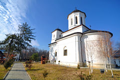 Nucet church. Interior garden of Nucet monastery near targoviste. Nucet means walnut orchard. Targoviste is the former capital of romania situated at 80 km Royalty Free Stock Image