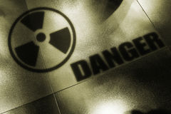 Nuclaer Danger. Shadows of nuclear danger. Symbol of radiation Stock Photos
