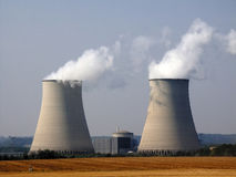 Nuclear. Power station with cooling towers stock image