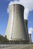 Nuclear. Photograph of a chimney of a nuclear power plant in activity Stock Photos
