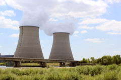 Nuclear. Power plant in operation for production of electrical energy Royalty Free Stock Images