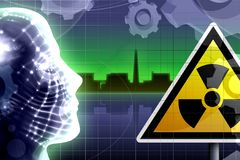 Nuclear accident concept. Illustration and human head Royalty Free Stock Photos