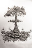 Nuclear atom bomb mushroom cloud illustration made of ash, dust Stock Photo