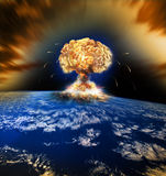 Nuclear Atomic War. Danger of nuclear war illustration with multiple explosions Stock Images