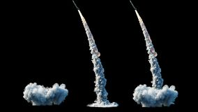Nuclear ballistic rocket, complex. Launch rocket, dust. Isolate. Realistic 4k animation.