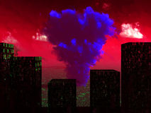 Nuclear Blast 3. An image of a nuclear blast that has destroyed a city Royalty Free Stock Images