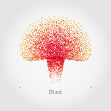 Nuclear blast vector concept. Nuclear blast vector illustration concept. Stylish polygonal particles in nuke explosion form. Simple, but original. Isolated on Royalty Free Stock Photography