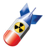 Nuclear bomb. Flying nuclear bomb on transparent background with symbol Royalty Free Stock Image
