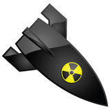 Nuclear bomb. Glossy illustration of a nuclear bomb, with the radioactivity sign painted on it Royalty Free Stock Photos