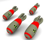 Nuclear Bomb. A  group of old vintage nuclear bombs Royalty Free Stock Image