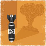 Nuclear bomb casting shadow of explosion cloud. In vector Stock Photo