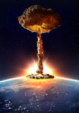 Nuclear bomb detonation. Detonation of a nuclear bomb with a mushroom cloud Stock Photo