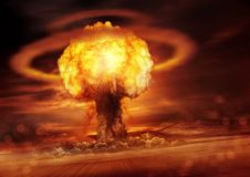 Nuclear Bomb Detonation. A nuclear bomb explosion causing shock waves. Mixed media illustration Stock Image