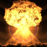 Nuclear bomb explosion Stock Image