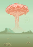 Nuclear bomb explosion in the desert. Mushroom cloud. Vector illustration. Nuclear bomb explosion in the desert. Mushroom cloud. Rocky mountain landscape Royalty Free Stock Photography