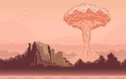 Nuclear bomb explosion in the desert. Mushroom cloud. Vector illustration. Nuclear bomb explosion in the desert. Mushroom cloud. Rocky mountain landscape Stock Image