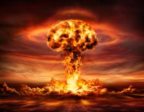 Nuclear Bomb Explosion - Mushroom Cloud. After Big Explosion royalty free stock photography