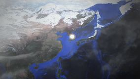 A nuclear bomb goes off as seen from an aerial space drone view - South Korea - Image courtesy of NASA. April 12 2018 stock illustration
