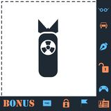 Nuclear bomb icon flat stock illustration